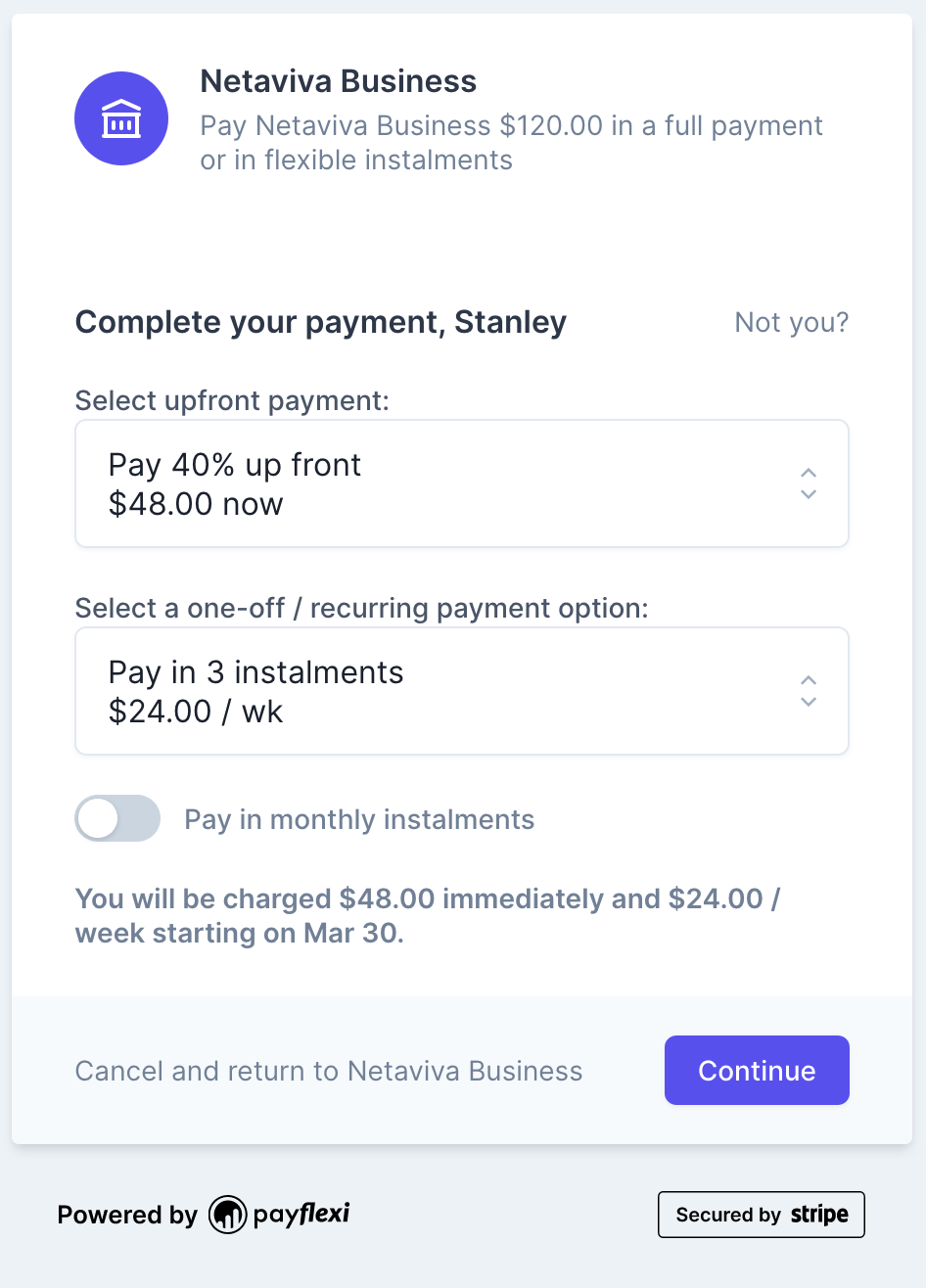 Flexible Payment Checkout